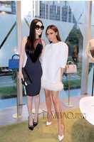 Free Shipping ! 2014 Autumn European and American Stars Victoria Loose Spliced Fake Fur White Jacquard Dress