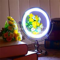 desktop led cosmetic makeup mirror illuminated lamp led make up mirror  illuminated lamp round silver mirror  T1513
