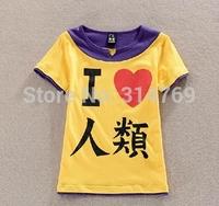 Japanese Cartoon No Game No Life Sora Cosplay Clothes I Love Human Being Short Sleeve T-Shirt Fashion Tops