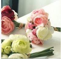 Free Shipping High Quality Silk Artificial flowers peony Bride Hands Holding Rose Flower Bridal Bouquet Wedding 4 Colors