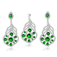 Free Shipping 925 Sterling Silver Jewelry Micro pave CZ Crystal Wedding Jewelry Sets Fashion Women Jewelry Pendant&Earrings Set