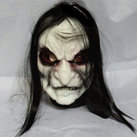 New Funny Halloween Mask  Prank Prop Long Black Hair Devil Ghost  Face Full Head Mask  Horrible latex soft Mask Prop Costume