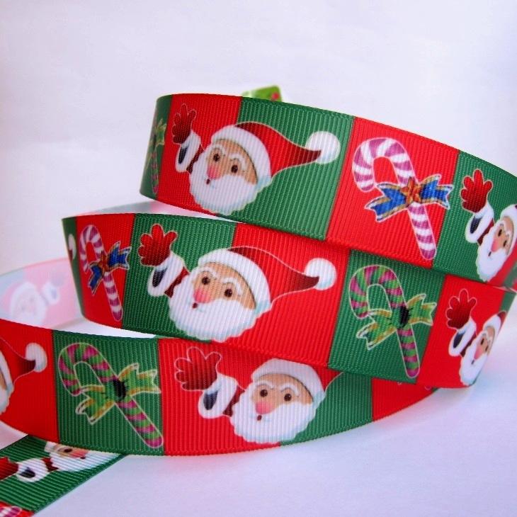 "Wholesale 1""25mm Christmas Santa Pattern Grosgrain Polyester Printed DIY Hairbow Ribbon Package Belt 20 yard Free shipping(China (Mainland))"