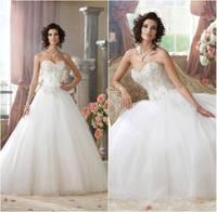 Romantic Custom Robe de Mariage New 2014 Ball Gown Wedding Dresses Sequined Tulle Skirt Romantic Bridal Gown Vestidos de Gala