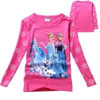 Hot selling Popular FROZEN Elsa's  Anna's ice Romance Princess Girls Long-sleeved Cotton T shirt Children clothing freeshipping