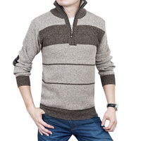 Discount! 2014 New Winter Men's Fashion Casual Dress Turtleneck Thick Sweaters Polo,High Quality Brand Mens Wool Pullover stripe