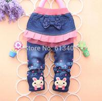 2014 new kids girls jean bow pants cotton cashmere pants elastic waist girls legging warm pants winter spring children pants