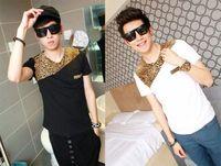 New Fashion Stylish Men's Casual Shirts Slim Fit T-Shirt Leopard Printed Cool