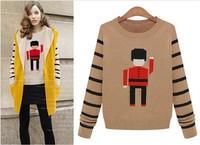 2014 Euramerican station Hitz women's autumn sleeve head loose fashion all-match soldiers pattern sweater