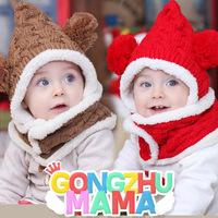 Children's caps sets winter new Weave Flannel hat with cute ball Christmas snow  hats baby scarf hat suit  2 pcs sets ETJ-A0214