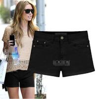 Simple Look Shorts Femininos Zipper Design Slim Waist Denim Pants Classic Black White Casual Cozy Style European Trousers 298192