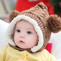 Winter baby hat Plus velvet Snow double ball Children cap Ear protection cap 6 month to 3 years old baby  free shipping
