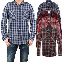 2014 New Famous Brand Autumn Designer Men Casual Cotton Blouse Long Sleeved Camisa Negra Plaid t-shirts Plaid Men's Blouses