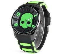 Nice Watches Round Dial Rubber Band Wrist Watch Skeleton Pattern Sport Watches Pointer Display Men Wristwatches
