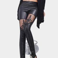 Fashion New 2014 Punk Sexy leather leggings Stitching Embroidery Bundled Hollow Lace Black Leggings Pantyhose for Women W00343