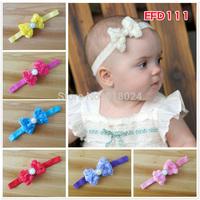 5pcs/lot Newborn Infant Toddler girls baby Headband Chiffon Rosette -Shabby Chic Bows handmade diamond/pearl