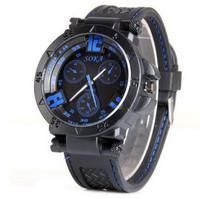 Brand New Waterproof Male Watch Round Dial Decorative Analog Display Men Wristwatch Rubber Band Wrist Watch