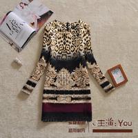 Free shipping 2014 autumn fashion elegant vintage sexy leopard print color block tie-dyeing print plus size one-piece dress