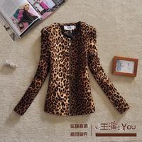 Free shipping U&Me 2014 autumn female cardigan fashion wild leopard print all-match elegant slim suit female jacket winter coat