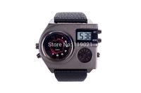 2014 new men luxury sports watch brand DZ three oclock military zone multifunction LED watch fashion leather strap quartz watch