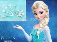 2014 New Snowflake Style hairpin Frozen Princess Snow Queen Elsa Hair pins Set (1 Hair Clip + 5 Small Hair Pin) blue / white