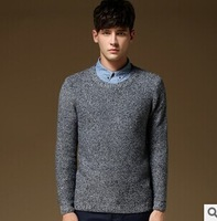 2014 Autumn Winter Mens Wool sweater O Neck Solid color Pullover Male M-2XL A0185