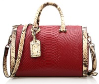 Newest Winter Women luxury handbag fashion Boston embossed snake genuine cow leather leather tote messenger bag, Q0497