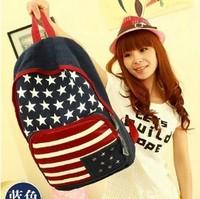 2014 3 Colors American Flag Printed Backpacks Womens High Quality Stars  Black School Bags Book Bag