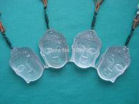 4 Tibet Himalayan  Natural Clear Quartz Crystal Buddha Statue Carving Pendant Free Shipping