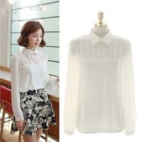 Free shipping 2014  Women Sweet Doll Collar Hollow Lace  Sheer Chiffon Long Sleeve Shirt Casual Blouse Tops S M L XL