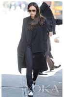 Free Shipping ! 2014 Winter Fahsion High-end European and American Victoria Spliced Fake Fur Black Coat