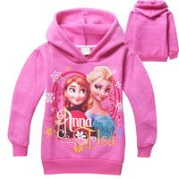 New Hot selling Child girls Frozen Hoodies Elsa and Anna Long Sleeve cartoon T-shirts thick Sweatshirts kids wear Free shipping