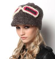 Women Winter Thickening Woolly Hats Wool Baseball Caps Style Black Grey Fashion Glassess Wool Knit Hat Ladies Crochet Hats CP040