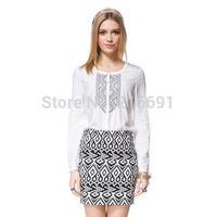 2014 new fashion women elegant embroidery long sleeve cotton blouse Lady casual slim brand design shirt #J344
