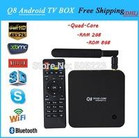 5pc/lot dhl free  2014 newest Q8 Quad Core  android tv box Rockchip 3288