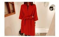 Wool Blended Winter Coat Three Quarter Sleeve Women Loose Thick Long Warm Coats Casaco Feminino Sashes Free Shipping WNL1070
