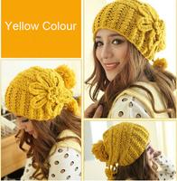 Yellow Beanie Hat  Flower Handmade Crochet Hats Ballin Beanie Cap Strapback Adjustable Earflap Beanie Crochet Pattern CP041