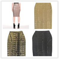 2014 new high quality gold metallic knee length bandage skirts woman party pencil skirts pink metalic black gold and black