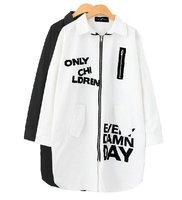 HOT! Korean Street New Fashion Autumn Doodle Letter Long Sleeve Plus Size Trench Coat Long Hip Hop Windbreaker Cardigans B1209