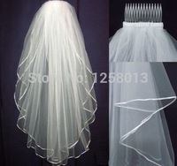 Free Shipping Wholsale Hot Sale 2014 In Stock Two Layers White /IvoryVeils Tulle Ribbon Edge Comb Wedding Veil Bridal Accessory