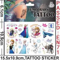 Wholesale - 5pcs/lot New 6 Style Frozen Tattoo Sticker Princess Elsa Anna 15.5x10.9cm Waterproof Temporary Tattoo For Kids Girls