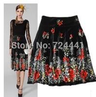 Mother Velour Skirts Plus Size Women Autumn Medium-Long Velvet A-line Skirt Vintage Elegant Floral Print Skirt Free Shipping