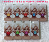 1pcs For iPhone 4 4S & 5 5S Case Fashion Sexy Marilyn Monroe Bubble Gum Hard Pastic Cell Phone Cases Covers free dropshipping