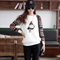 2014 New Autumn Cartoon Bear Print T-shirt Womens Long sleeve Tops Plus Size Casual Lady T Shirt blusas femininas White,Grey