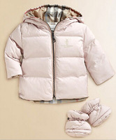 Presale!2014 New Brand Children Baby Outerwear Down&Parkas Girls Clothing Jacket Coat 12M-5T Hooded Two Sides Wear Plaid Winter