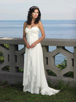 New Sexy White / Ivory Sweetheart Beaded Embellished Beach Chiffon Wedding Dresses Bridal Gown Us Size