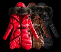 Red Brown Black Winter Jacket Women Down Jacket 2015 New Arrival Fashion Brand Lady Down Coat Fur Collar Warm Women Down Parka