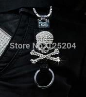 Free shipping Crystal diamond skull car key chain JP DAD style leather car key ring Weaving grain key ring