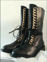 news 2014 fashion golden chain women autumn boots lace-up square heel women motorcycle boots brand solid leather boots
