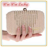 Free Shipping Women Pearl Handbag. Hand-beaded Tassel Diamond Wedding Bridal Clutch Purse. Party Evening Bag With Shoulder Chain